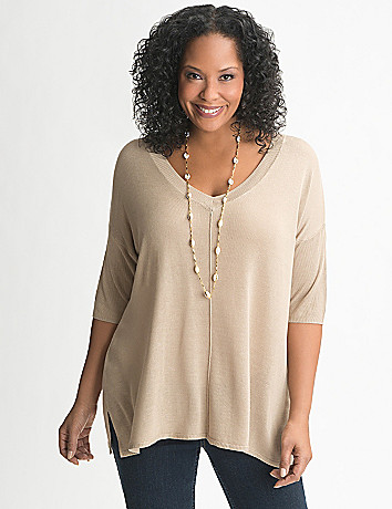 Stripe T-shape pullover sweater by Lane Bryant