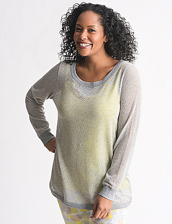 Plus Size Mesh Banded Bottom Top by Lane Bryant