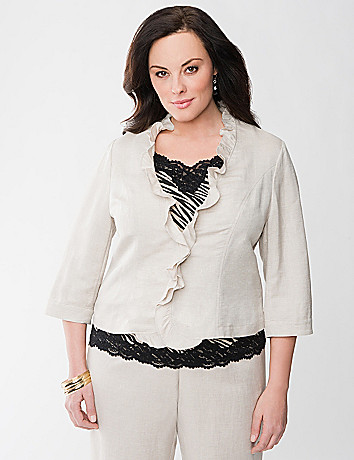Ruffled linen jacket by Lane Bryant