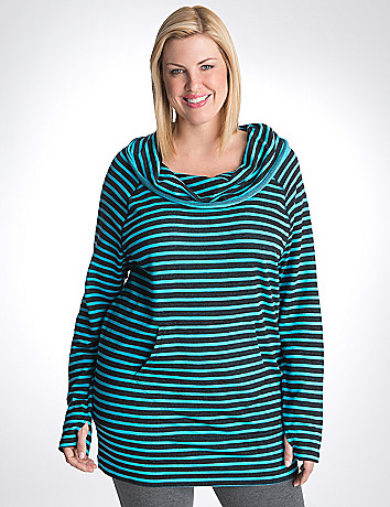Full figure striped cowl neck tunic