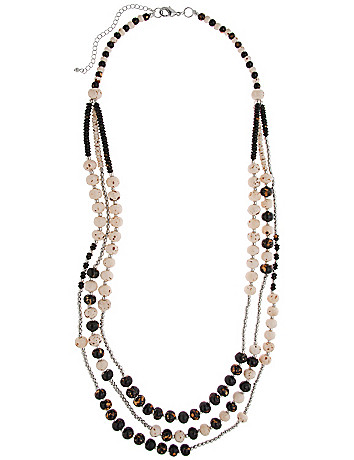Wooden bead 3 row necklace by Lane Bryant