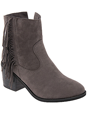 Wide Width Fringed Ankle Boot by Lane Bryant