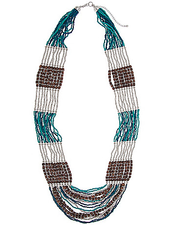 Striped beaded necklace by Lane Bryant