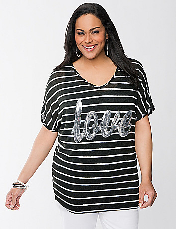 Love sequin striped top