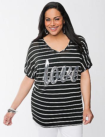 Love sequin striped top