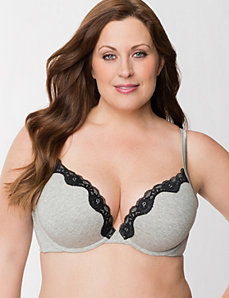 Cotton boost plunge bra with lace