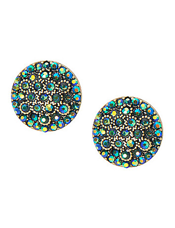 Cubic zirconium button earrings by Lane Bryant