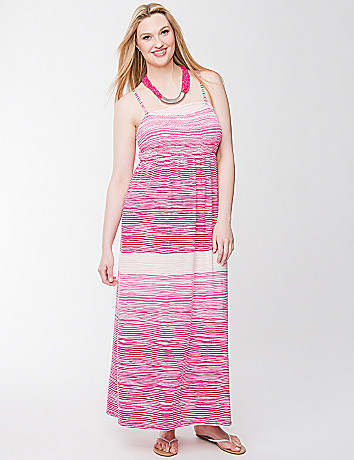 Smocked slub maxi dress