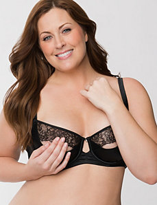 Satin & lace quarter cup bra
