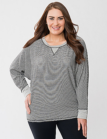 Striped boat neck dolman