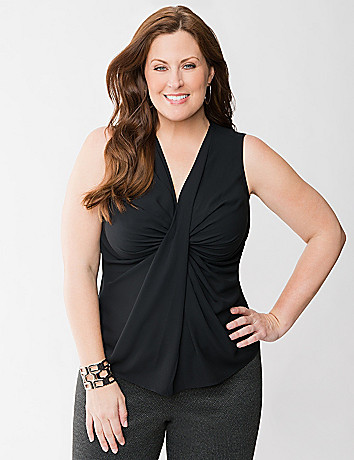 Plus Size Twist Front Shell Tank