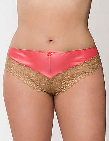 Satin & lace cheeky panty