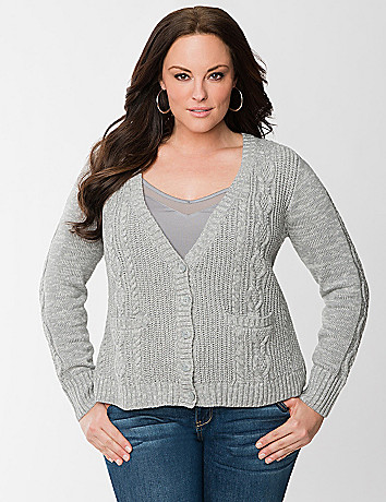 Cable knit high low cardigan