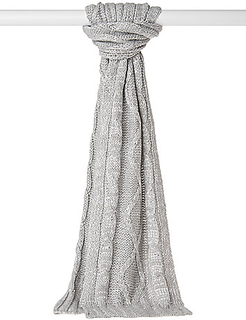Sequin cable knit scarf