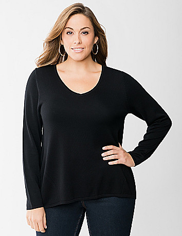 Zip back high low sweater by Lane Bryant