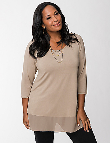 Tunic with chiffon trim