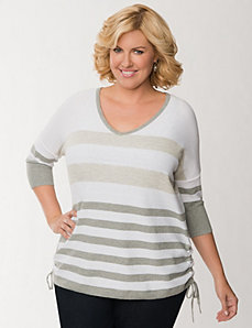 Striped side ruched sweater