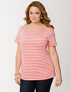 Striped ponte zipper back top