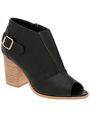 Buckled peep toe bootie