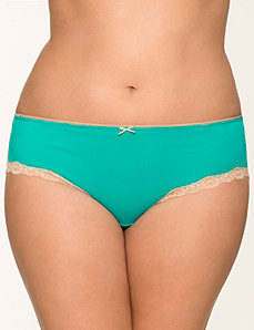 Sassy cotton hipster panty with lace