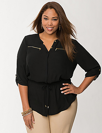 Zip pocket peplum blouse