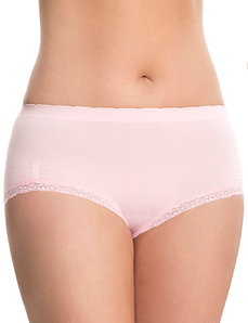 Seamless lace trim brief panty