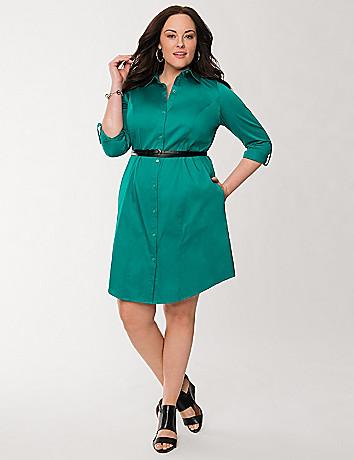 Sateen shirt dress