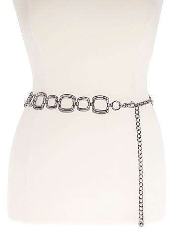 Plus Size Silver Tone Chain Belt by Lane Bryant