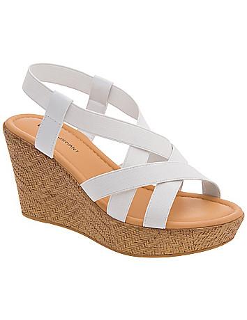 Stretch strap wedge sandal