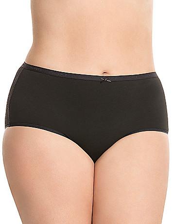 Lace back cotton brief panty