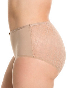 Lace back cotton brief panty