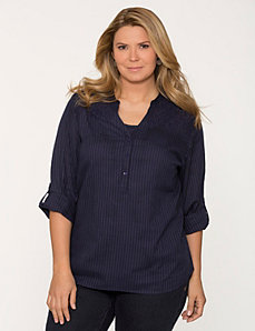 Eyelet shadow stripe popover