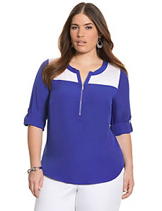 Colorblock zipped blouse