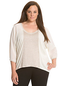 Lane Collection fabric blocked wedge top