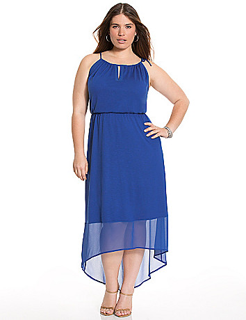 High-low maxi dress with chiffon hem