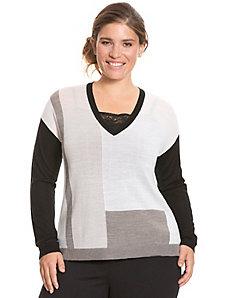 Merino colorblock sweater