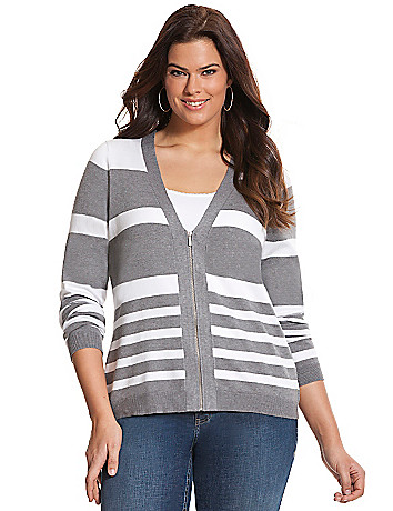 Zip front striped cardigan