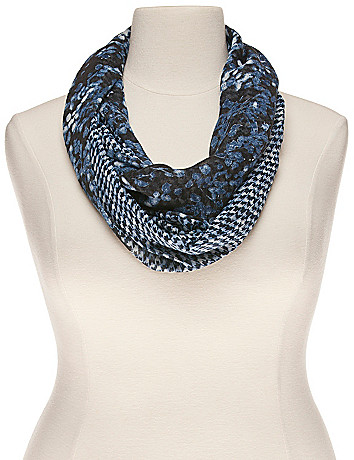 Floral & houndstooth infinity scarf by Lane Bryant