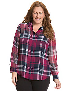Sheer plaid blouse