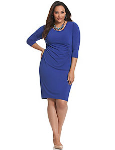 Control Tech slimming pleated side dress