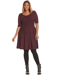 Pointelle skater sweater dress