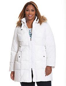 Puffer coat with fur trim