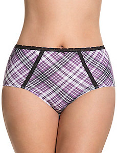 Sassy cotton brief with lace trim