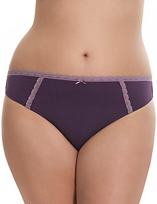 Sassy cotton thong with lace trim