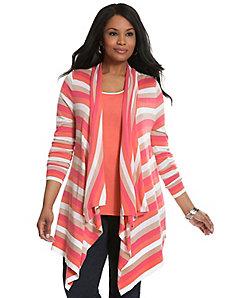 Striped drape front cardigan