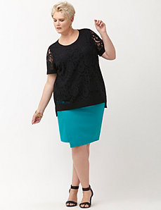Double weave stretch wrap skirt