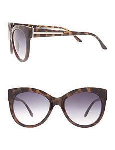 Cat-eye sunglasses with hardware trim