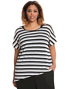 Shadow stripe layered-look top