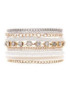 Mixed media multi strand bracelet