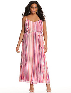 Striped pleated maxi dress